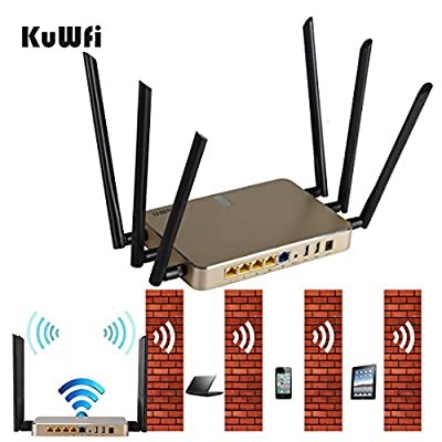 KuWFi 2000mW 802.11 AC 1200Mbps 128MB Wireless Dual Band WiFi Router Extender WiFi Repeater AP Cover Long Area Support more than 100Users easy to Use Through walls