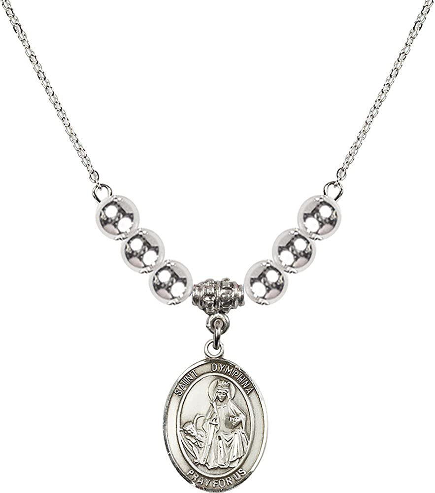 18-Inch Rhodium Plated Necklace with 6mm Sterling Silver Beads and Sterling Silver Saint Dymphna Charm.
