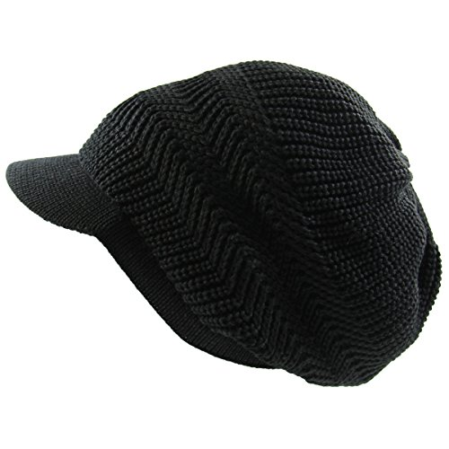 Cotton Knitted Beanie Hat - RW Knitted Cotton Rasta Slouchy Beanie Visor (Black)