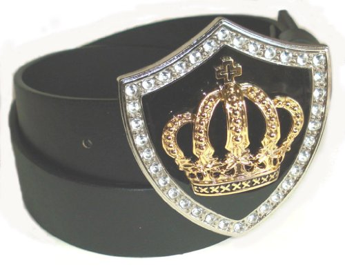 BeltsandStuds Man Women black snap on belt with Gold Crown buckle L 38 Black (Crown Belt Buckle)