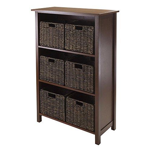Granville Storage Shelf - Winsome Granville 3-Section 7-Piece Storage Shelf with 6-Foldable Baskets