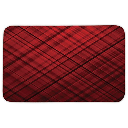 Woven Kilt (Rectangular Area Rug Mat Rug,Red and Black,Scottish Kilt Design Pattern with Stripes Lines Squares Ombre Image,Burgundy and Scarlet,Home Decor Mat with Non Slip Backing)