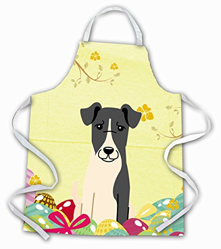 Caroline's Treasures Easter Eggs Smooth Fox Terrier Apron, Large, Multicolor
