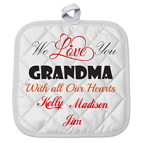 Personalized Custom Text you Grandma with ours hearts Polyester Pot Holder