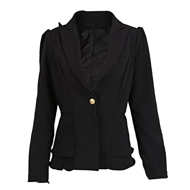 fec77cf539 SODIAL(R) ファションジャケットブレザー 女性スーツ折りたたみ長袖ラペルコート キャンディーカラーブレザー