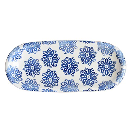 Euro Ceramica Azul Tile Collection 12'' Terra Cotta Snack Tray with 3 3.6'' Dipping/Sauce Bowls, Floral Hand-Painted Design, Blue & White by Euro Ceramica Inc. (Image #1)
