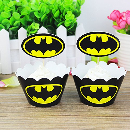 Batman Cupcake Wrapper Topper Kit Set of 1 Dozen]()
