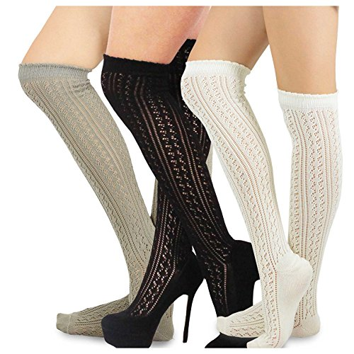 Teehee Women's Fashion Cotton Over The Knee Socks - 3 Pairs Pack (Pointelle) ()