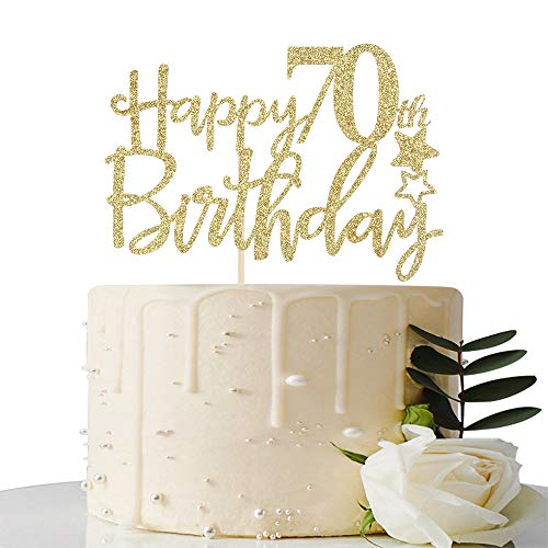 Gold GlitterHappy 70th Birthday Cake Topper,Hello 70,Cheers to 70 Years,70 & Fabulous Party Decoration -