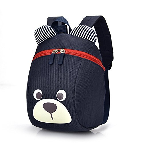 Cute Bear Small Toddler Backpack With Leash Children Kids Backpack Bag for Boy Girl (dark blue)