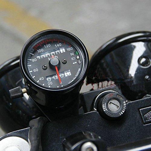 Vintage chrome Black LED CAFE RACER Universal 0 - 160 KM/H