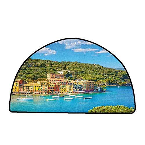 Anti-Slip Coffee Table Floor Mats Italy,Portofino Landmark Aerial Panoramic View Village and Yacht Little Bay Harbor, Blue Green Yellow,W47 x L31 Half Round Natural Fiber Area Rug (Portofino Table Coffee)