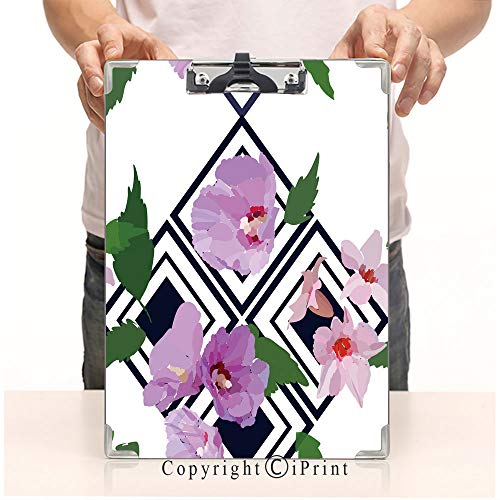 - A4 File Folders Standard Size Clipboards CartoonPrint Clipboards Office Document,Floral Seamless Pattern with Hibiscus Flowers and Leaves Botanical Illustration Hand Painted TextilePrint Fabric swat