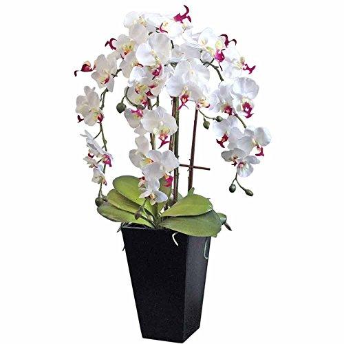 Homescapes Deko Kunstblume Orchidee weiß Gesteck im schwarzen Topf Höhe ca. 70 cm Kunstpflanzen mit Topf, Künstliche Pflanzen