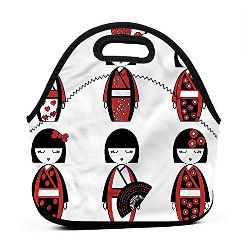 Large Size Reusable Lunch Handbag Girls,Geisha Dolls Folkloric,chicago bears lunch bag for men from ZFOOD