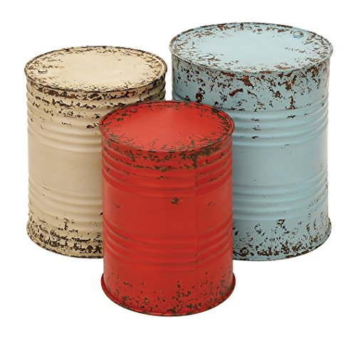 Deco 79 Benzara Metal Drum Table Accent Collection, 20 by 18 by 16-Inch, Multi-Color, Set of 3