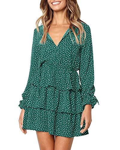 Imysty Womens V Neck Polka Dot Ruffles Long Sleeve Casual Loose Swing T-Shirt Dress (Small, Green) - Polka Dot Ruffle Mini