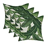 Set of 4 - Indoor / Outdoor 17'' Square Decorative Throw / Toss Pillows - Tommy Bahama - Swaying Palms - Aloe - Green Tropical Palm Leaf Fabric