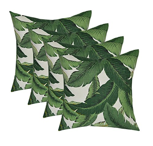 "Set of 4 - Indoor / Outdoor 17"" Square Decorative Throw / Toss Pillows - Tommy Bahama - Swaying Palms - Aloe - Green Tropical Palm Leaf Fabric"