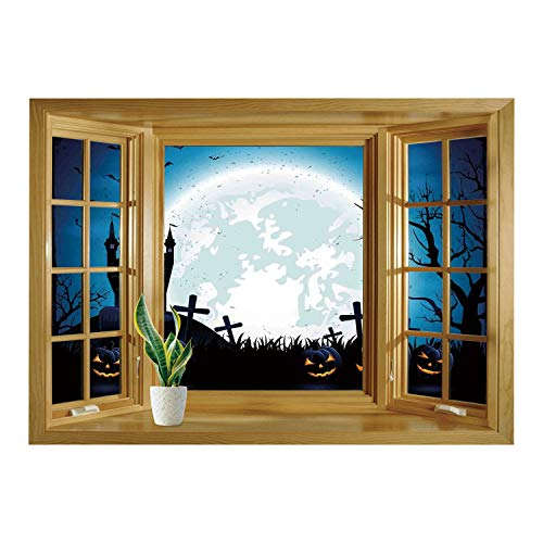 SCOCICI Wall Sticker,Window Looking Out Into/Halloween Decorations,Spooky Concept with Scary Icons Old Celtic Harvest Figures in Dark Image,Blue/Wall Sticker Mural