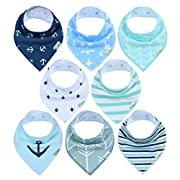 Baby Bandana Drool Bibs | Pack Of 8 Highly Absorbent Drooling & Teething Bibs For Boys & Girls – Hypoallergenic Organic Cotton Baby Bib Set With Unisex Designs Blue White Grey Green By Comfy Cubs