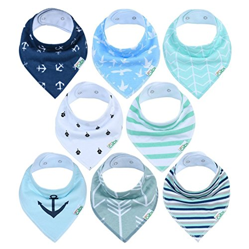 Dog Bib - Baby Bandana Drool Bibs | Pack Of 8 Highly Absorbent Drooling & Teething Bibs For Boys & Girls – Hypoallergenic Organic Cotton Baby Bib Set With Unisex Designs Blue White Grey Green By Comfy Cubs