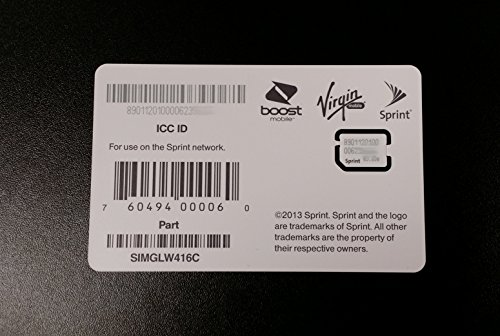 Sprint Boost Virgin Mobile iPhone 5s & 5c Nano SIM Card ICCID SIMGLW416C