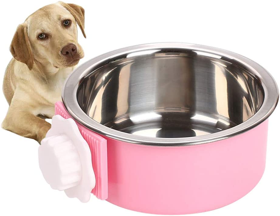 Luck Dawn Dog Crate Bowl, Stainless Steel Removable Cage Hanging Bowls with Bolt Holder for Cat Puppy