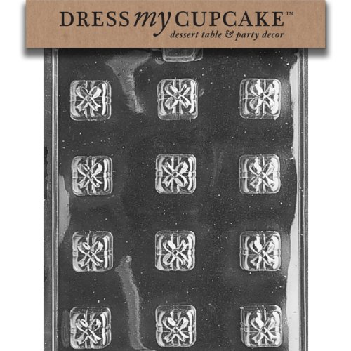 Dress My Cupcake DMCAO073 Chocolate Candy Mold, Square s with Bows Presents