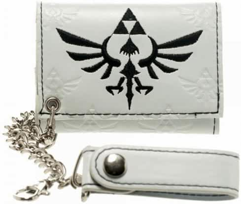 Nintendo Legend of ZELDA TRIFORCE Logo Embossed White Tri-Fold WALLET w/ Chain
