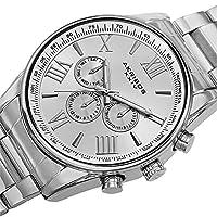 Akribos XXIV - Reloj de pulsera de acero inoxidable en tono plateado, multifunción, para el último AK736SS para hombres.