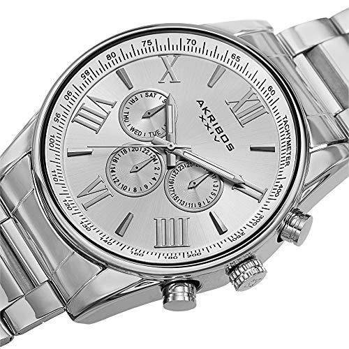 Akribos XXIV Men's AK736SS Ultimate Swiss Quartz Multi-Function Silver-Tone Stainless Steel Bracelet Watch
