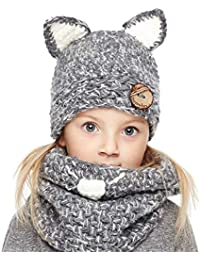 Winter Kids Warm Cat Animal Hats Knitted Coif Hood Scarf...