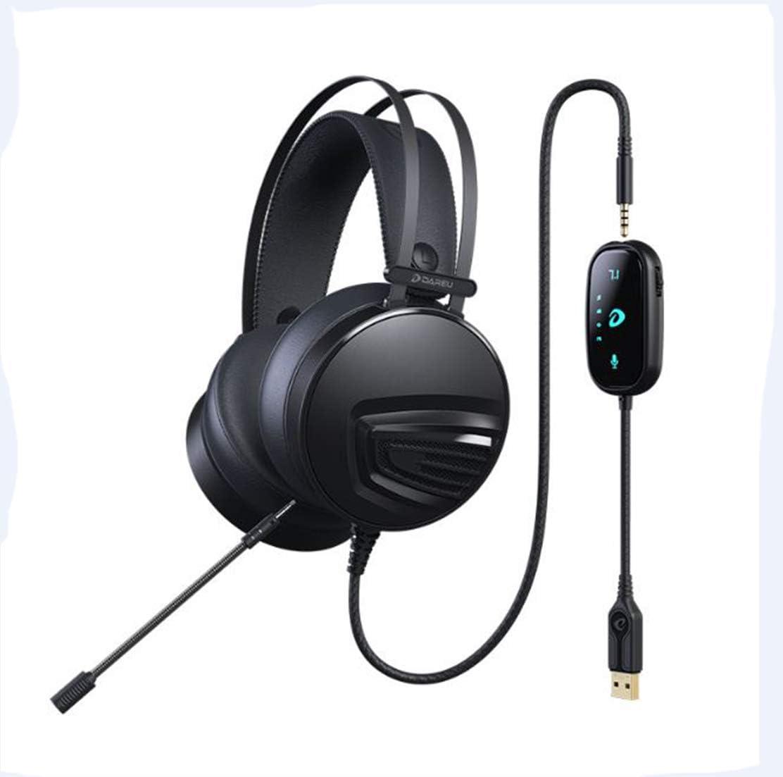 JYCDD Black USB7.1 Headset for Gaming Headset Gaming Desktop Computer Use Black