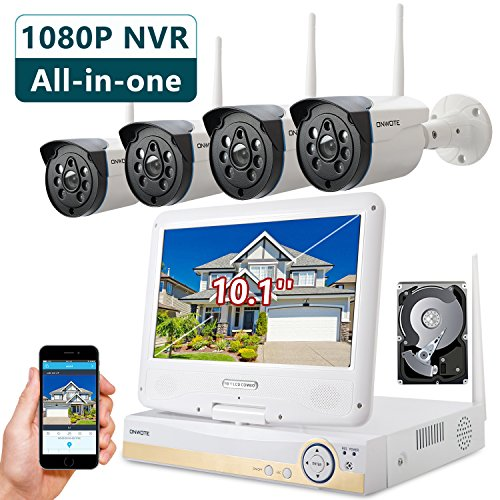 Onwote Plug N Play All In One 1080P Hd Nvr Wireless Wifi Security Camera System With 10 1  Lcd Monitor  1Tb Hard Drive And 4 Outdoor Night Vision Ip Surveillance Camera  Built In Router  Auto Pair