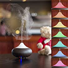 Aroma Essential Oil Diffuser, FOME Wood Grain 100ml Portable Ultrasonic Oil Diffuser Air Purifier Cold Mist Aroma Humidifier with 7 Color Changing Led Lamp, Waterless Auto Shut-off Function for Home/Office (Water Drop-Shaped/Deep Brown) + FOME GIFT