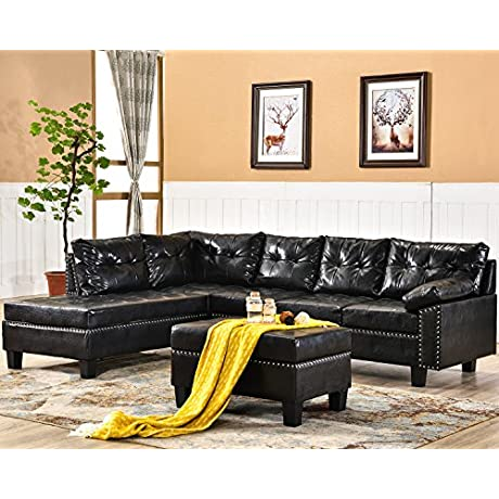 Harper Bright Designs Sectional Sofa Set With Chaise Lounge And Storage Ottoman Nail Head Detail Dark Brown