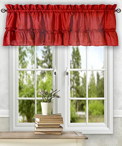 - Simple Comfort Ellis Curtain Stacey 54-by-13 Inch Ruffled Filler Valance (Red)