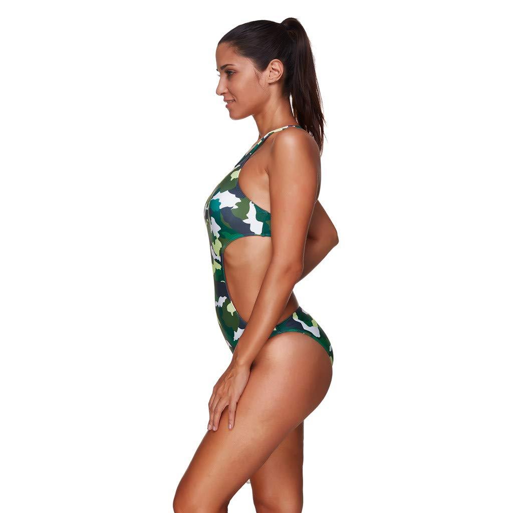 Longra Bikini Sexy con Encanto, Camuflaje, Espalda Abierta, Impresa, Traje de baño, Ropa de Playa sin Espalda de baño (M-3XL): Amazon.es: Ropa y accesorios