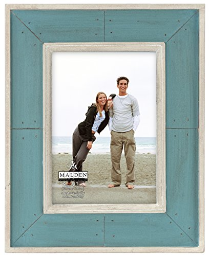 (Malden International Designs Sun Washed Woods Turquoise Distressed With Inner Frame Border Picture Frame, 5x7, Turquoise)