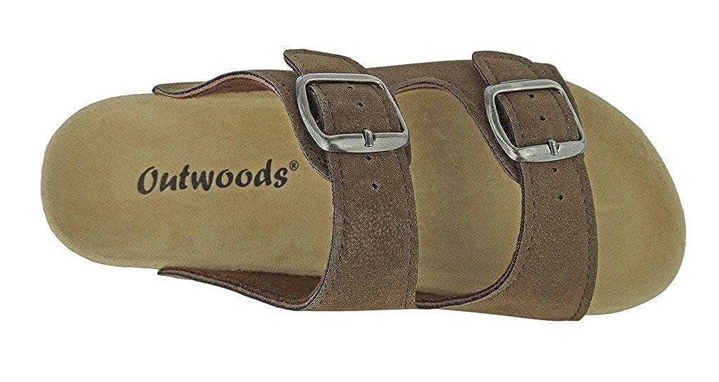 OUTWOODS Womens Bork-46 Vegan Leather Adjustable Double-Strap Slip-on Sandals 21312