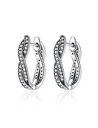 WOSTU 925 Sterling Silver Small Twisted Hoop Earrings Cubic Zirconia Diamond Stud Earrings for Women