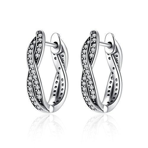 (WOSTU 925 Sterling Silver Small Twisted Hoop Earrings Cubic Zirconia Diamond Stud Earrings for Women)