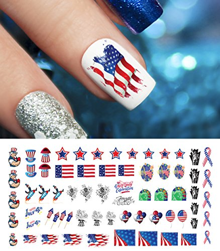 4th of July Water Slide Nail Art Decals - Salon Quality!