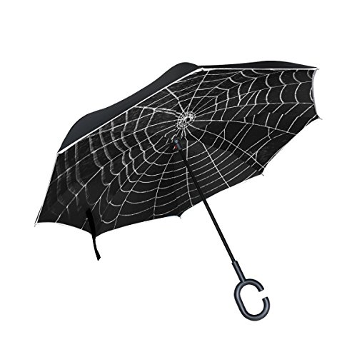 ALAZA Happy Halloween Horror Spider Web Inverted Umbrella Double Layer Windproof Reverse Folding Umbrella for Car With C-Shape Handle for $<!--$29.99-->