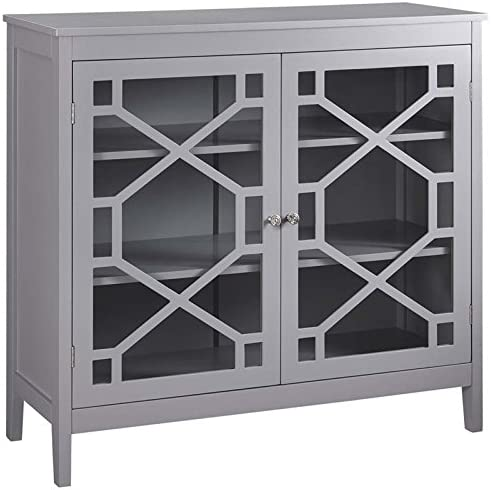 Riverbay Furniture 38 Curio Cabinet in Gray