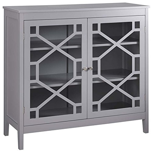 Pemberly Row 38'' Curio Cabinet in Gray by Pemberly Row