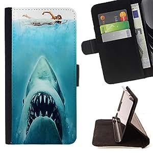 Dragon Case- Caja de la carpeta del caso en folio de cuero del tir¨®n de la cubierta protectora Shell FOR Sony Xperia Z1 M51W Z1 mini D5503- Shark Sea