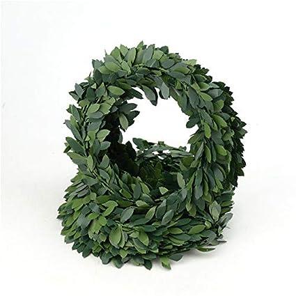 7.5m Artificial Green Leaves Garland Fake Foliage Wire Vine DIY Bride Wreath