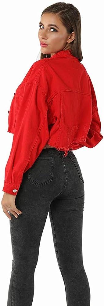 JEELINBORE Giacca Jeans Cropped Donna Vintage Giacchino di Jeans Corto Cappotti Denim